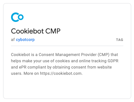 Google Tag Manager has selected Cookiebot as standard tag in the Community Template Gallery